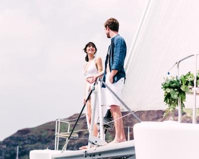 After wedding catamaran cruise: Alexander and Isabella